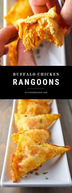 Buffalo chicken rangoons are a twist on the classic crab rangoon. Buffalo chicken and cream cheese fried together in a crispy golden won ton.