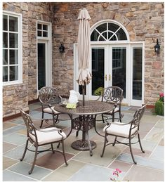 Outdoor Patio Dining Set 5 Piece w/ Umbrella Table Chairs Metal Garden Furniture #OutdoorPatioDiningSet