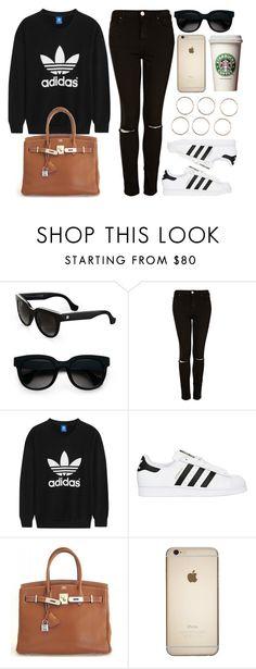"""Style  #10548"" by vany-alvarado ❤ liked on Polyvore featuring Balenciaga, Topshop, adidas Originals and Hermès"