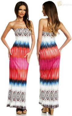Sommerkleid Freizeitkleid Bodenlang Maxi Bandeau Blau Rot Weiß Baumwolle Apropos