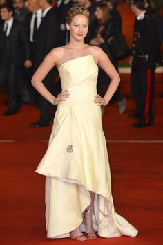Best Dressed celebrity style and fashion (Vogue.com UK) ~ Jennifer Lawrence wore a gown from the Dior Couture autumn/winter 2013 collection.