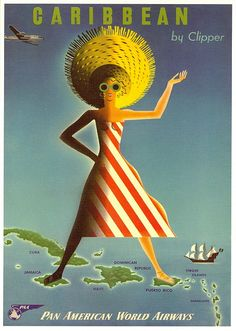 Early Pan Am promo - caribbean by Clipper poster. One of a series promoting the latest passenger planes Pan Am had to offer