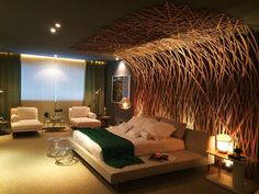 Pretty extreme and loud for my taste but i like how warm and dramatic this is Hotel Room Design, Modern Bedroom Design, Master Bedroom Design, Modern Interior Design, Home Bedroom, Bedroom Decor, Living Room Designs, Decoration, Design Design