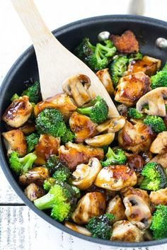 This Chicken and Broccoli Stir Fry recipe has the perfect combination of chicken, broccoli and mushrooms that gets sauteed and coated in a savory sauce!