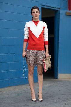 Red & white: sweater, floral skirt, burlap bag, tartan shoes.