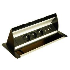 versenkbare Steckdose mit drei Schukosteckern und zwei USB zum Einbau in Tischplatte