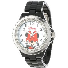 Disney Minnie Mouse Enamel Sparkle Bracelet Watch (25.670 CRC) ❤ liked on Polyvore featuring jewelry, watches, pandora bracelet, bracelet jewelry, bracelet wrist watch, sparkle bracelet and sparkle jewelry