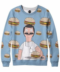 Bob's Burgers took the networks by storm. He sounds like Archer but can flip burgers like nobody's business. Pay respect to Bob with this sweet all-over print. Bobs Burgers, Printed Sweatshirts, Hoodies, Crew Neck Sweatshirt, Graphic Sweatshirt, Bob S, Rave Outfits, Cool Shirts, Awesome Shirts