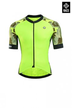 244abf455 Buy summer hi vis cycling jersey snug fit for road bike racing. Neon yellow  high visibility men s cycling jersey online for sale.