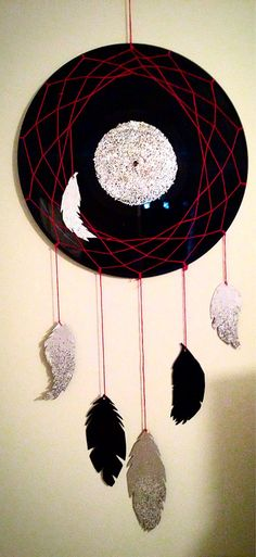Vinyl Record Dreamcatcher with Handmade Paper Feathers