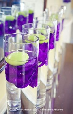 Ideas Wedding Flowers Purple And White Floating Candles – Wedding Centerpieces Lime Green Weddings, Purple And Green Wedding, Purple Wedding Flowers, Wedding Colors, Wedding White, Silk Flowers, Bridal Flowers, Green Flowers, Dark Purple