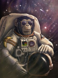 magnaen:  Space Chimp for ForHumanPeoples http://www.forhumanpeoples.com/collections/frontpage/products/space-chimp-poster