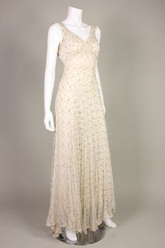 1930's Gold Embroidered Chiffon Gown | From a collection of rare vintage evening dresses at https://www.1stdibs.com/fashion/clothing/evening-dresses/