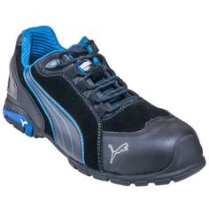 Puma Shoes: Men's 64.275.5 Black/Blue Safety Toe ESD Rio Work Shoes