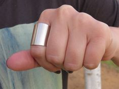 Silver ring  Wide band ring Adjustable ring Tube by HLcollection, $22.00