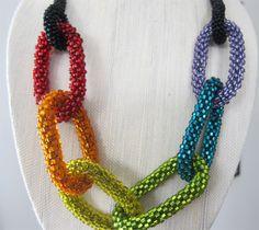 rainbow bead #crochet necklace @freshstitches