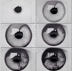 Drawing the pupil of the eye.
