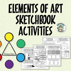 Sketchbook activities to introduce young artists to some of the concepts of line, color, shape, value, form, space, and texture. For these art lessons, I've designed 3 pages that can be cut apart and pasted into a sketchbook with activities and prompts for other sketchbook drawings and experimentation.