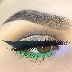 pop of color: green lower lashline, lilac inner corner @kaitlyn_nguy w/ winged liner, neutral eye #makeup