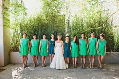 green bridesmaids dresses
