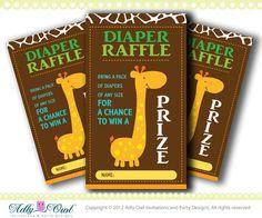 Giraffe Diaper Raffle Safari Theme Tickets- Orange, Green tickets for Baby Shower DIY  - ONLY digital file - you print