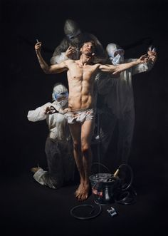 Mitch Griffiths (born in Nuneaton in 1971) uses a traditional, almost forgotten style of painting, inspired by the light and composition of Old Master paintings, but he uses this style to depict the issues concerning 21st-century British society. His main subject is the transient and throwaway nature of contemporary culture, which is held in stark contrast to the permanence and indelibility of oil paint on canvas via