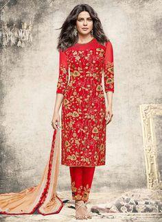 Priyanka Chopra Embroidered Work Red Designer Suit