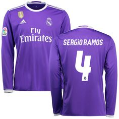 Sergio Ramos Real Madrid adidas 2016/17 Away World Cup Champions Patch Replica Long Sleeve Jersey - Purple - $124.99