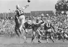 Joe Namath, leaping about 2 feet off the ground, throws a pass over the defensive line of the Houston Oilers at Shea Stadium, Sept. Description from pophistorydig.com. I searched for this on bing.com/images