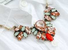 Statement Champagne turquoise crystal bib collar necklace - TwinkleJewel - 1