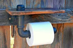 Reclaimed Wood & Industrial Pipe Toilet Paper Roll Holder - $55.00 #twicelifewood