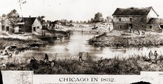 An early rendering of Chicago as it looked in 1832, showing Wolf point at the junction of the two branches of the Chicago River.