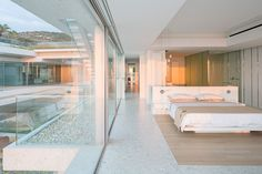 Modern bedroom with glass walls