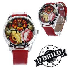 Red Peonies Watch Wristwatch / Cool Modern Retro by ZIZWatches, Red Peonies, Limited Collection, Modern Retro, Watches Online, Birthday Wishes, Unique Jewelry, Spring, Floral, Summer
