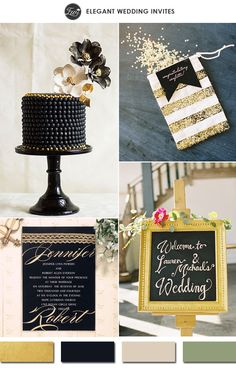 2015 trending vintage gold and black wedding color ideas #weddingcolors #goldwedding #elegantweddinginvites