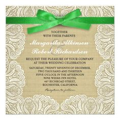 Beautiful classic wedding invitations with rustic burlap background, vintage style white lace accent and green ribbon with bow design. The ribbon, lace and burlap background are high resolution images - they are not the actual objects.