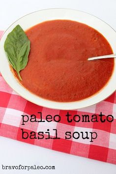 Looking for a dairy free, grain free soup? Try this Paleo Tomato Basil Soup.