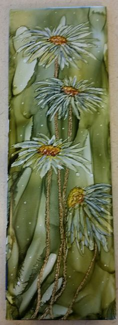 Flowers in alcohol ink on 12x4 tile by Tina