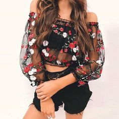 Floral Embroidered See-through Crop Top