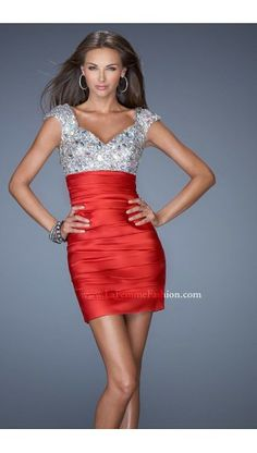 2014 La Femme Prom Dress 19503 Sequined Stretch Satin Red