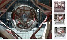Anamorfosi sferica , Stella Battaglia e Gianni Miglietta. Allestimento per la mostra: Nel segno di Masaccio. L'invenzione della prospettiva Firenze, Galleria degli Uffizi, 16 ottobre 2001 - 7 aprile 2002.