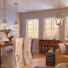 Dining room lighting. Hayman Bay Collection 2 Light Pendant   Distressed Antique White. Kichler.