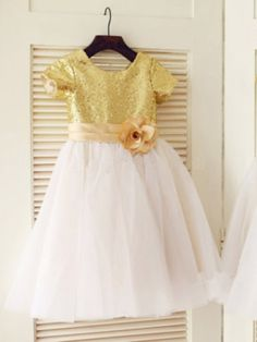 A-line/Princess Scoop Short Sleeves Sequin Long Tulle Dresses,Flower Girl Dresses