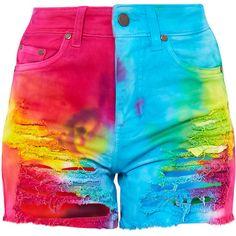 Anaiya Multi Tie Dye Distress Denim Short (500 MXN) ❤ liked on Polyvore featuring shorts, tie-dye shorts, tie dyed shorts, distressed denim shorts, short shorts and tye dye shorts