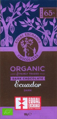 Equal Exchange Organic, Ecuador 65% dark chocolate bar. This organic and fairly traded dark chocolate bar is created from fine flavour cocoa beans from small farmer co-ops in Ecuador. Producing a wonderfully rich and robust dark chocolate with intensity. Subtle notes of fruits balanced with deep cocoa flavours give this bar a taste of rich chocolate cake. Little acidity. Certified organic and fairly traded.