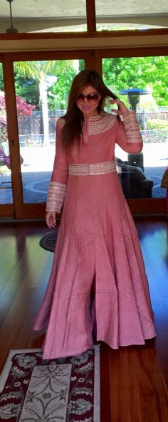 Pink Indian Gowns, Indian Attire, Pakistani Dresses, Indian Outfits, Kurta Designs, Blouse Designs, Saree Dress, Indian Designer Wear, Traditional Outfits