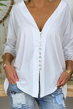 Button Up Casual Solid Lace Sleeves Polyester V-Neck Blouses, veryvoga Casual Tops For Women, Blouses For Women, Top Online Clothing Stores, Blouse Jaune, Blouse Outfit, Mode Outfits, Casual T Shirts, Casual Sweaters, Casual Jeans