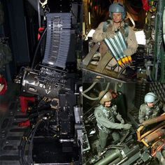 Weapons of the AC-130U Spooky II from left to right and down. 1st is the 25mm GAU-12 cannon firing 1800rds/minute. Top right is the Bofors 40mm cannon, when fed continuously can fire 120rds/minute, that's 2rds/second.  Bottom right is the M102 105mm howitzer firing 6 to 10rds/minute.  The howitzer is not an automatic weapon, it takes a crew of 3 to man the weapon and loading/unloading is done by hand.