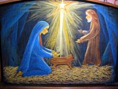 Waldorf ~ Mary & Joseph ~ chalkboard drawing