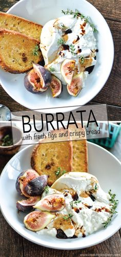 Burrata with Fresh Figs and Crispy Bread: a midday snack or appetizer recipe to get excited about! | www.cookingandbee...